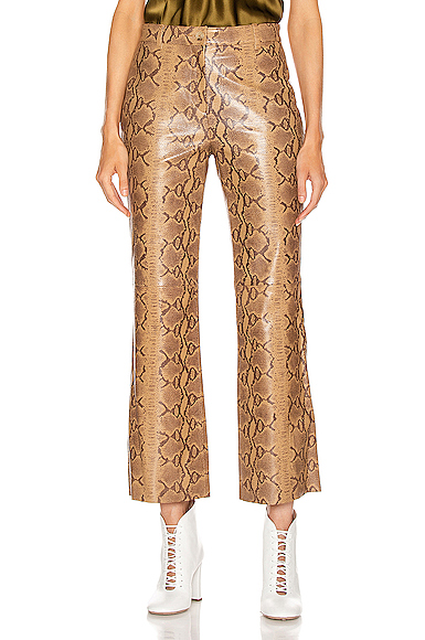 NILI LOTAN Vianna Leather Pant in Animal Print,Neutral. - size 0 (also in 2,4,6,8)