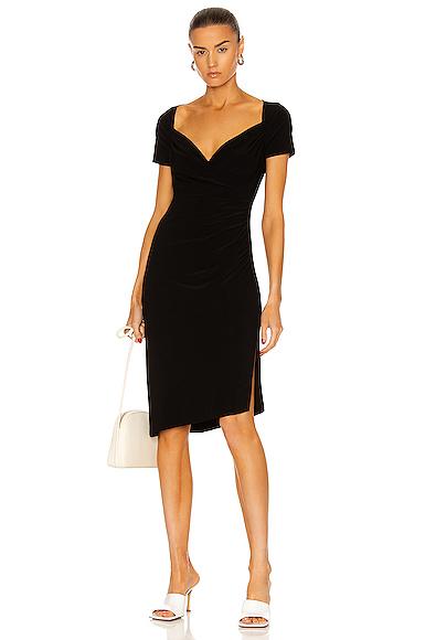 Norma Kamali Sweetheart Side Drape Dress in Black. - size S (also in L,M,XS)