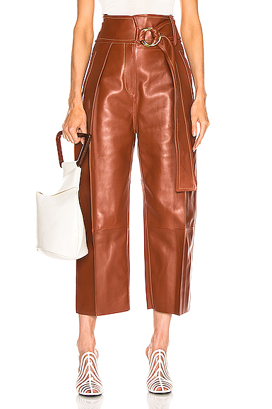 Petar Petrov Haena Wide Leg Leather Pant in Brown. - size 36 (also in 34,38,40)