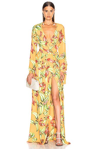 PatBo Zebrina Print Beaded Maxi Wrap Dress in Orange. - size 2 (also in 0,4,8)