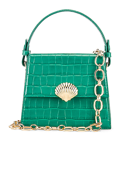 RIXO Jemima Bag in Animal Print,Green.