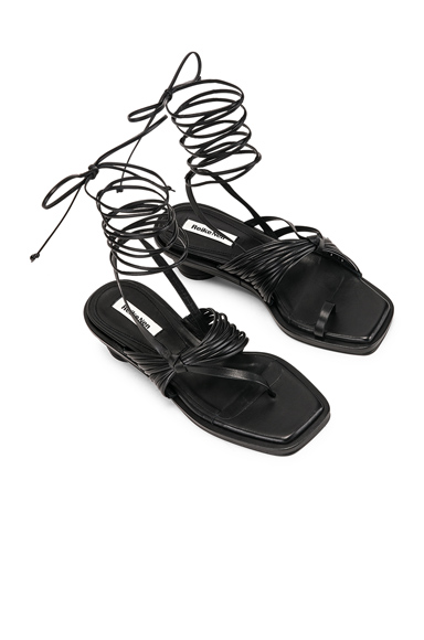Reike Nen Unbalanced String Sandal in Black. - size 38 (also in 39)