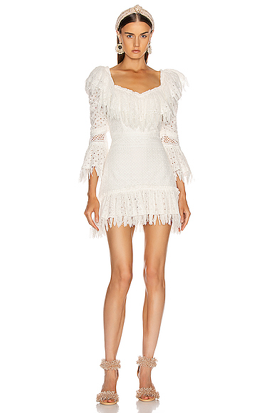 RAISA&VANESSA Ruffled Fringe Mini Dress in White. - size 38 (also in 40)
