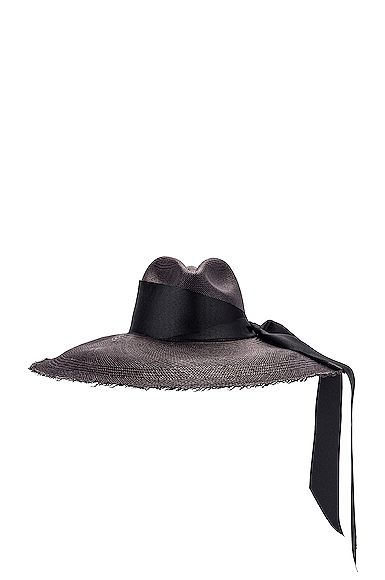 SENSI STUDIO Panama Hat With Maxi Bow in Black in Black. - size S (also in L,M)
