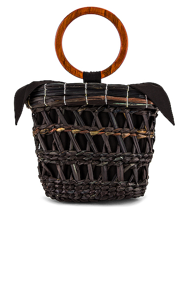 SENSI STUDIO Totora Straw Basket With Polished Bamboo Handle Bag in Black.