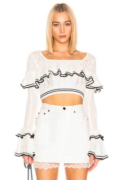 self-portrait Cropped Striped Knit Top in White. - size L (also in M,S)