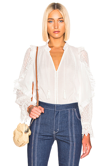 Ulla Johnson Shirley Blouse in White. - size 4 (also in 0,2,6,8)
