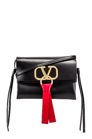 Valentino VRing Crossbody Bag in Black.