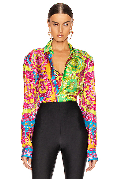 VERSACE Printed Silk Shirt in Green,Paisley,Pink. - size 40 (also in 41,42,43)