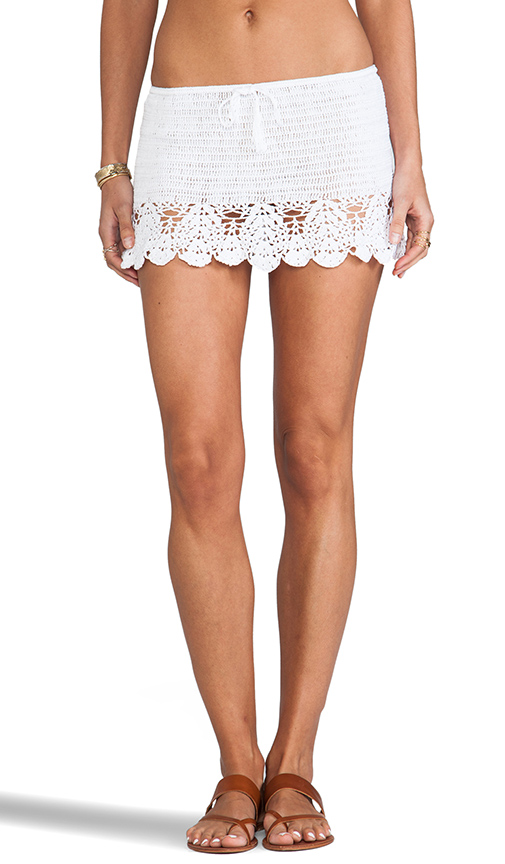 Anna Kosturova Salsa Crochet Skirt in White