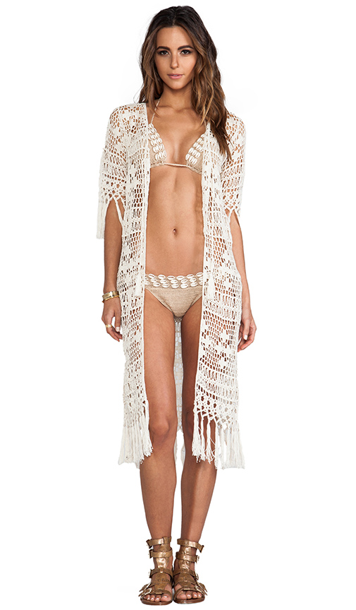 Anna Kosturova Tassel Crochet Duster in Cream