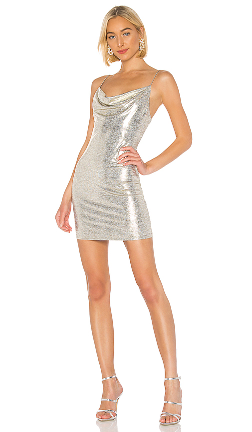 Alice + Olivia Harmie Mini Dress in Metallic Silver. - size 4 (also in 0,2,6)