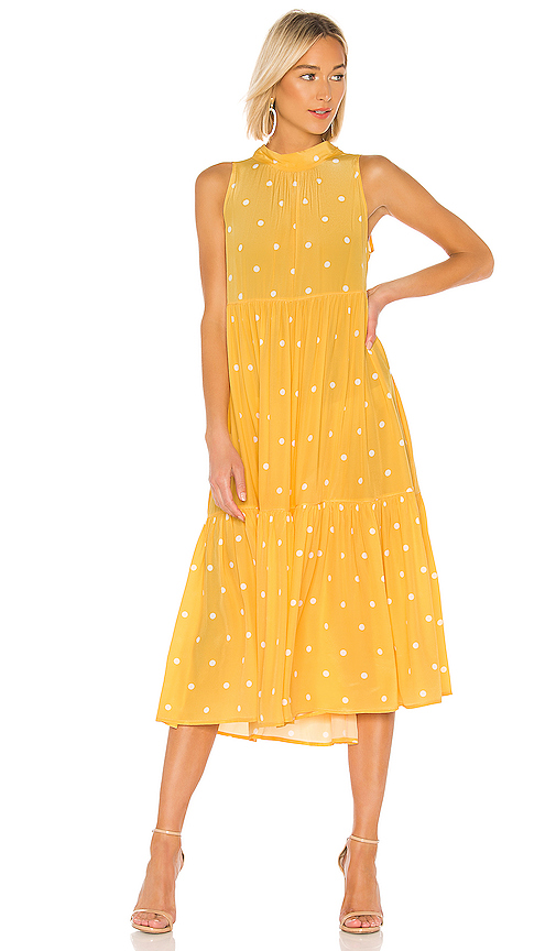 ASCENO Long Neck Tie Dress in Yellow. - size S (also in M,L)