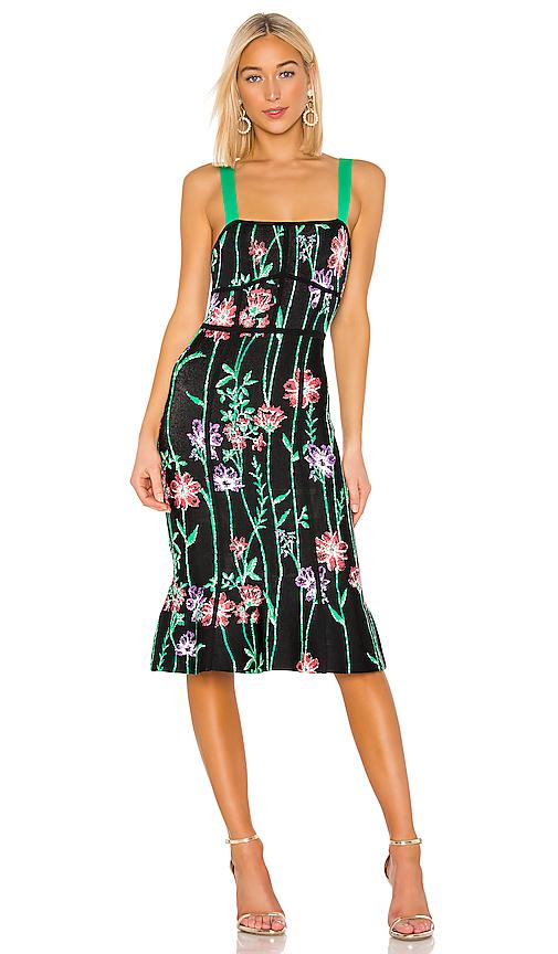 BCBGMAXAZRIA Floral Midi Dress in Black. - size L (also in XS,XXS)