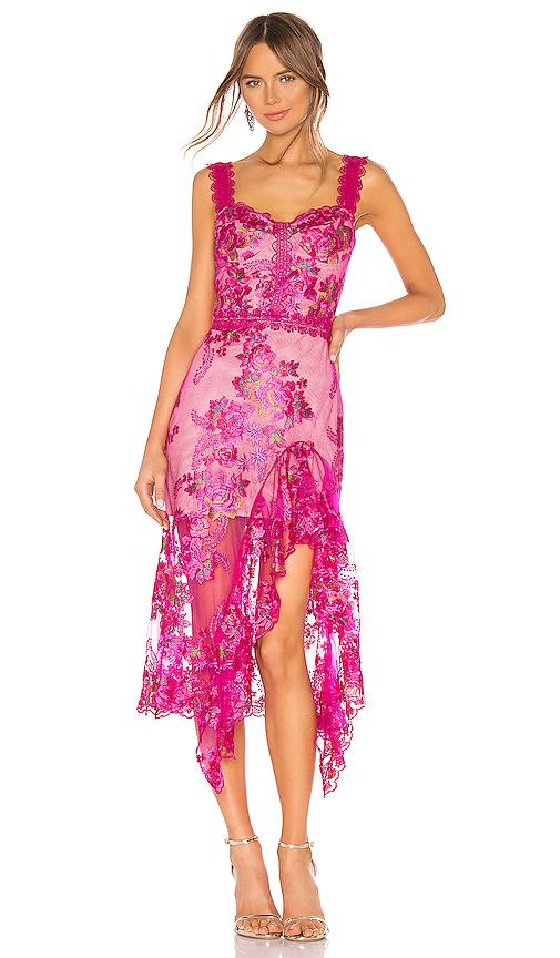 Bronx and Banco Eva Midi Dress in Pink. - size M (also in XS,S,L)