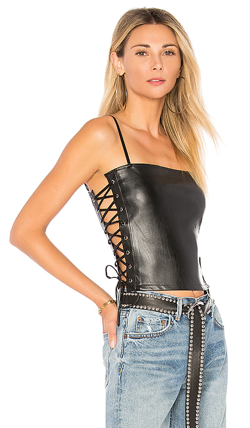 superdown Sky Faux Leather Cami in Black. - size S (also in XS,M,L)