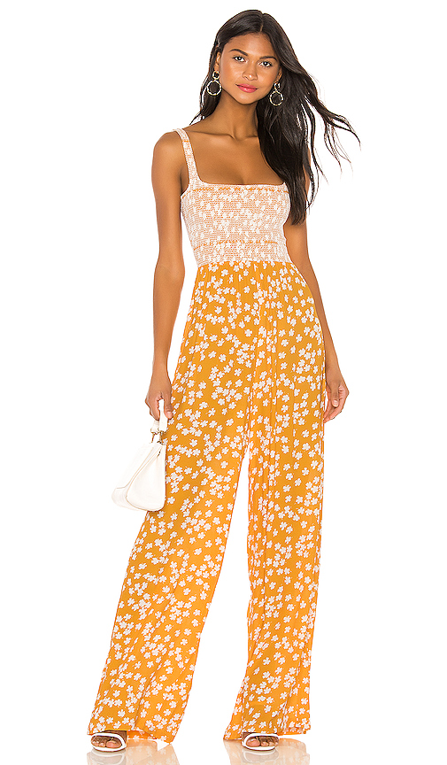 Capulet Wren Smocked Jumpsuit in Yellow. - size S (also in XS,M,L)