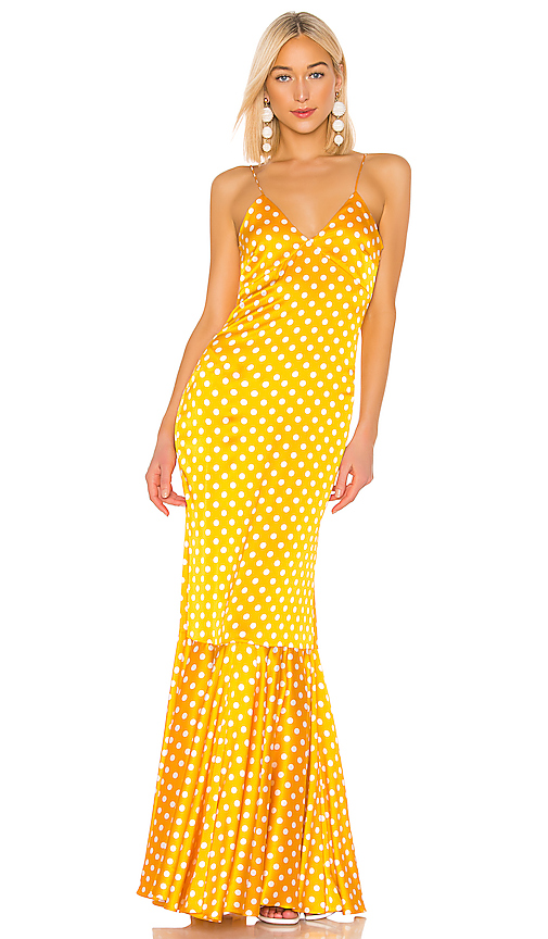 Caroline Constas Amelia Gown in Yellow. - size L (also in XS,S,M)