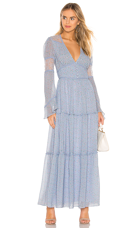 Divine Heritage Button Up Maxi Dress in Baby Blue. - size M (also in XS,S)