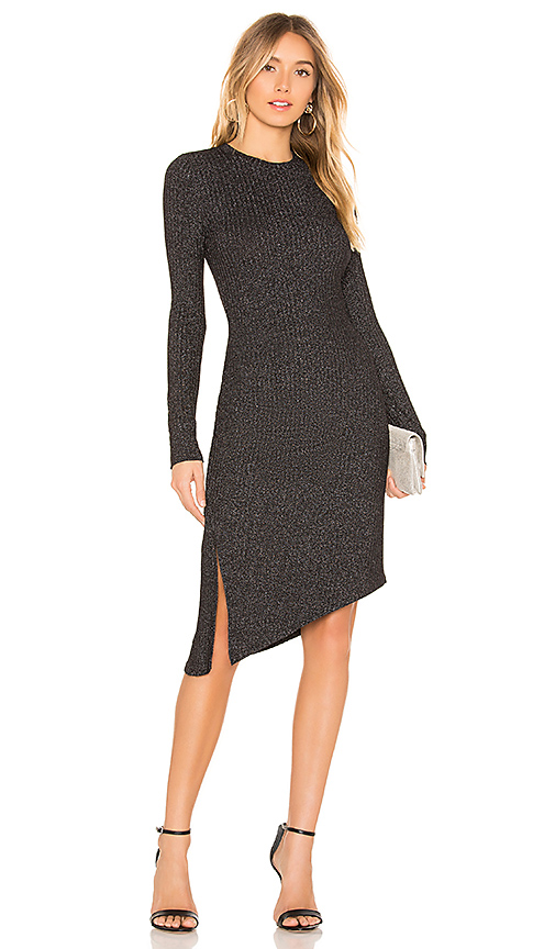 David Lerner Long Sleeve Asymmetrical Ruched Dress in Black. - size M (also in XS)