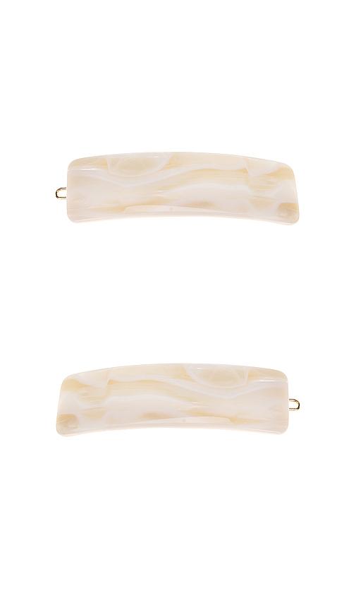 France Luxe Wide Tige Boule Barrette in Ivory.