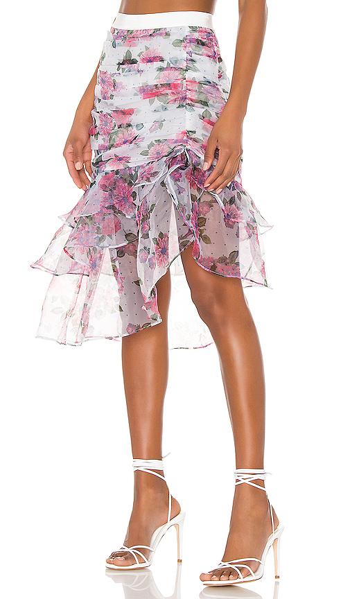 For Love & Lemons X REVOLVE Asymmetric Ruffle Skirt in White. - size XS (also in S)