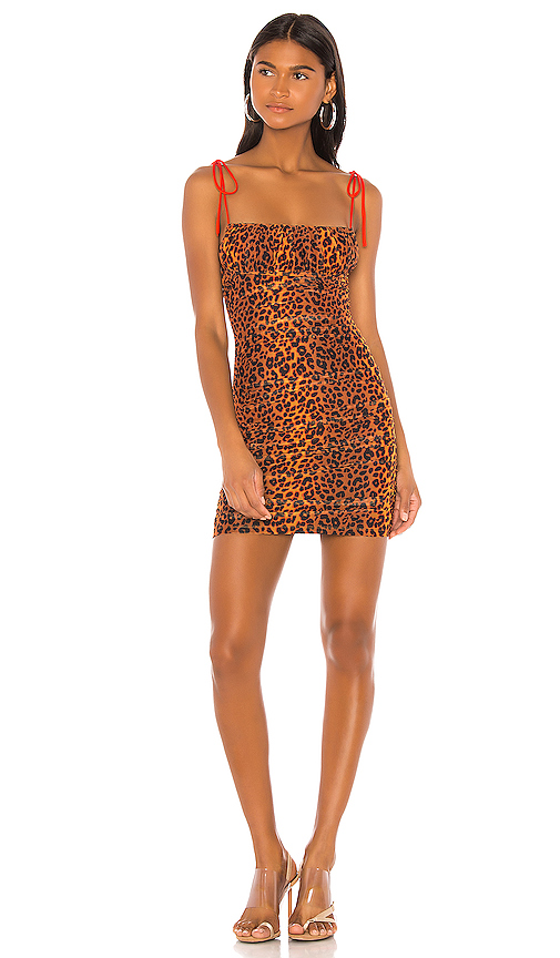 h:ours Taya Mini Dress in Brown. - size XS (also in XXS,S,M,L,XL)