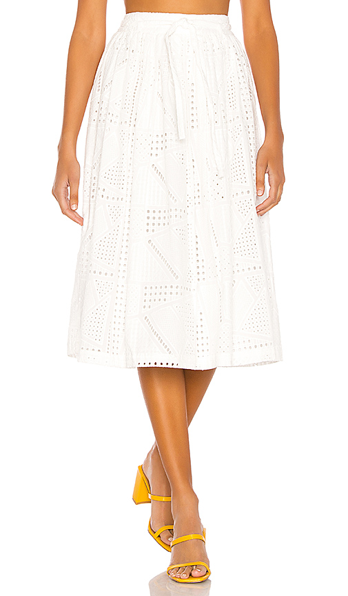 L'Academie The Rosine Midi Skirt in White. - size XL (also in XXS,XS,S,M,L)