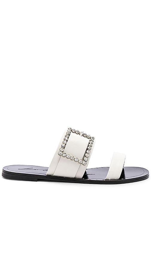 Lola Cruz Embellished Buckle Slide in White. - size 36 (also in 35,37,38,40)