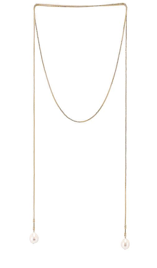 Lili Claspe Pearl Bolo Wrap in Metallic Gold.