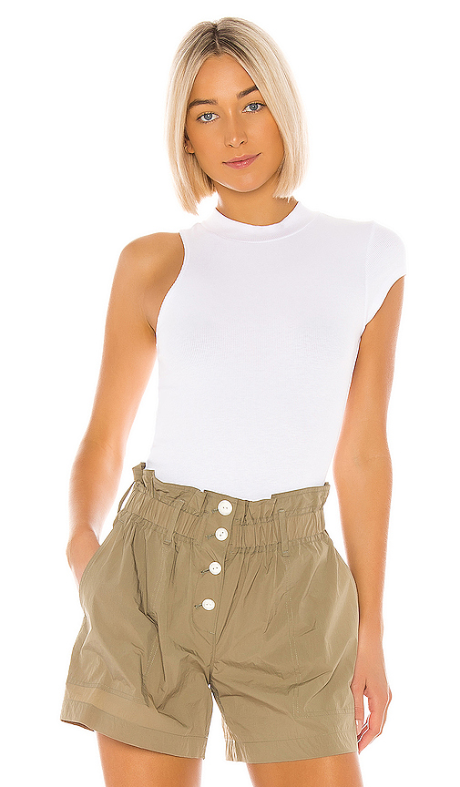 LNA Tyler Rib Top in White. - size M (also in XS,S,L)