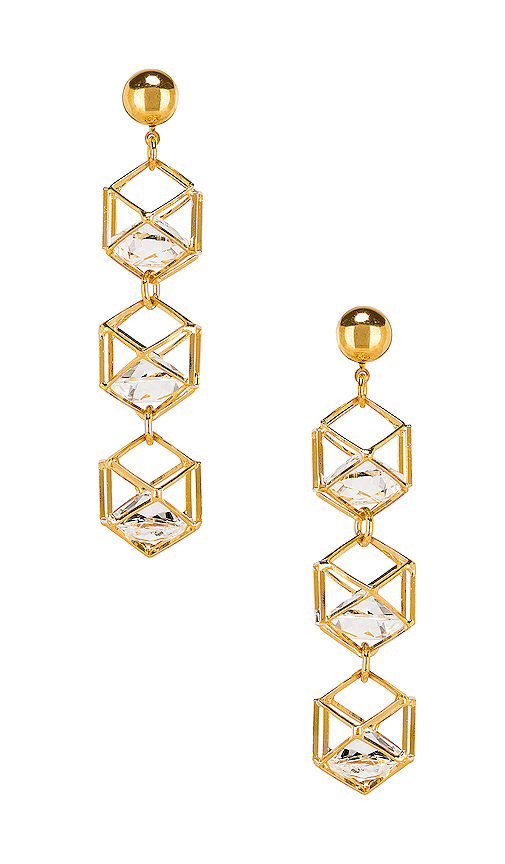 LARUICCI Caged Gem Earrings in Metallic Gold.