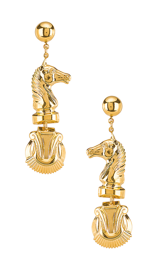 LARUICCI Chess Earrings in Metallic Gold.
