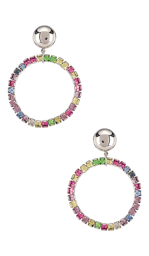 LARUICCI Rainbow Crystal Earrings in Metallic Silver.
