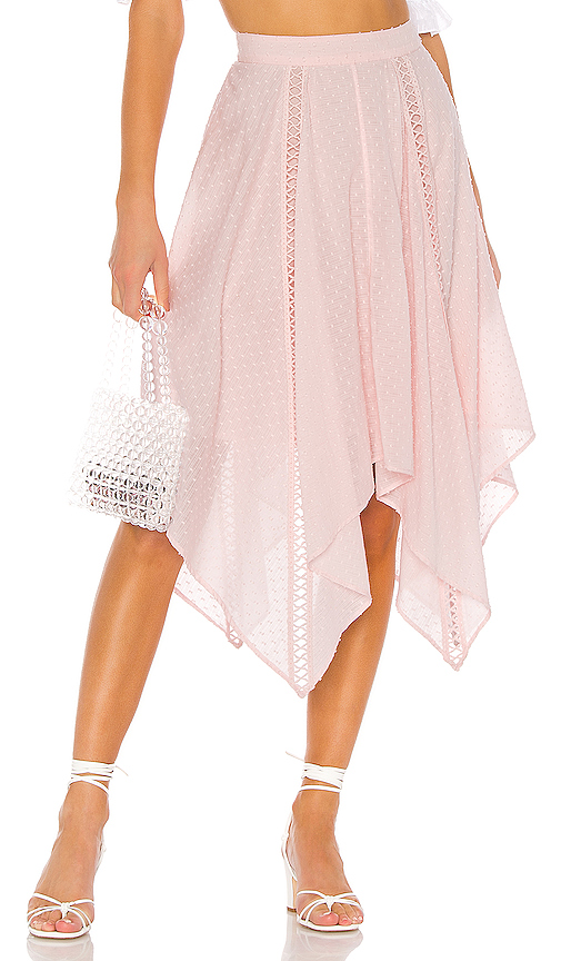 MAJORELLE Wesley Midi Skirt in Pink. - size XL (also in XXS,XS,S,M,L)