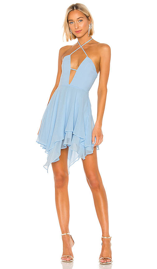Michael Costello x REVOLVE Brighton Dress in Blue. - size S (also in XS,M,L,XL)