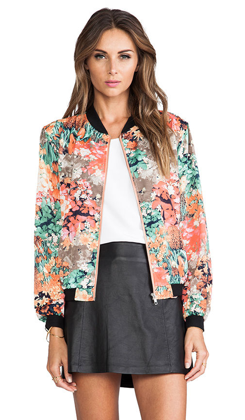 MM Couture by Miss Me Floral Bomber Jacket in Orange