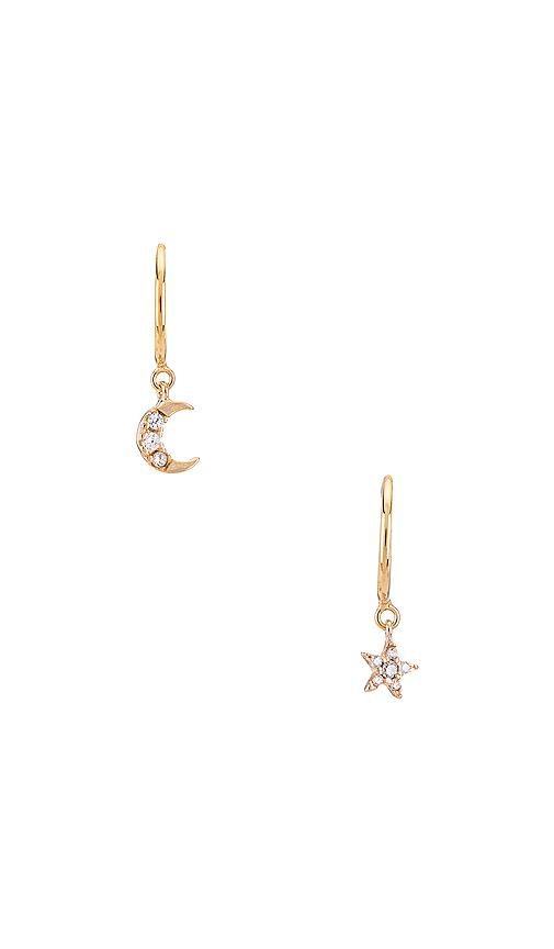 Natalie B Jewelry Moonlight Mismatched Huggies in Metallic Gold.
