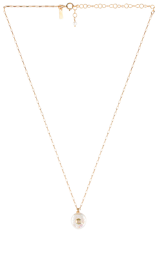 Natalie B Jewelry Pearl Of Love Necklace in Metallic Gold.