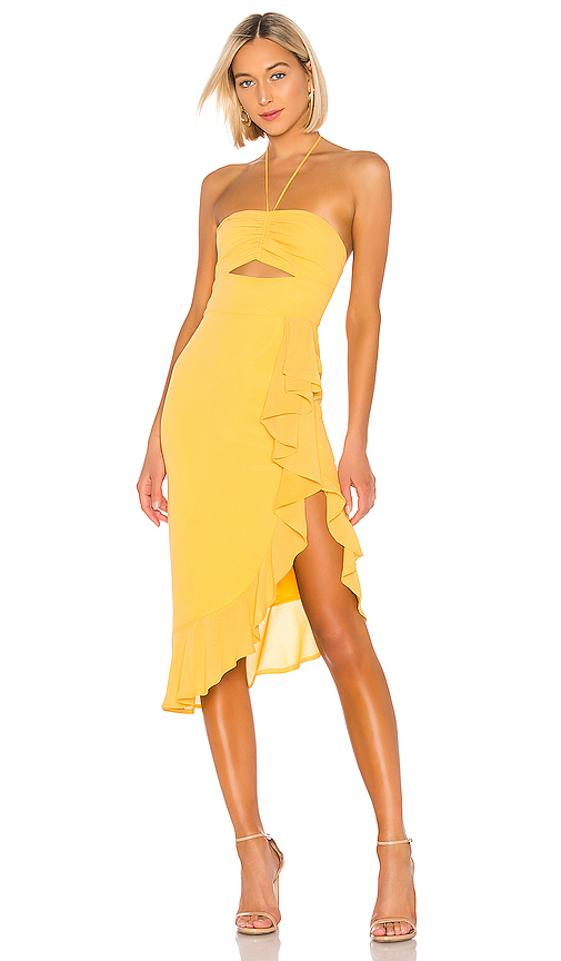 NBD Chancy Midi Dress in Yellow. - size XXS (also in XS,S,M,L,XL)