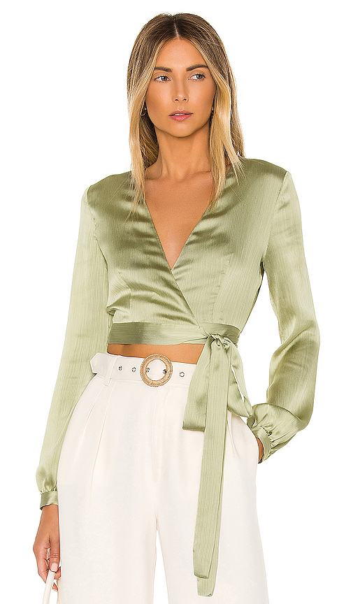 Privacy Please Avery Wrap Top in Sage. - size L (also in XXS,XS,S,M,XL)