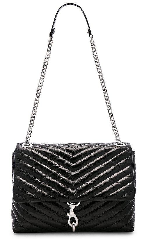 Rebecca Minkoff Edie Flap Shoulder Bag in Black.