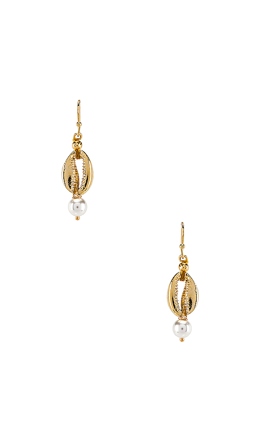 SHASHI Sea Pearl Huggie Earrings in Metallic Gold.
