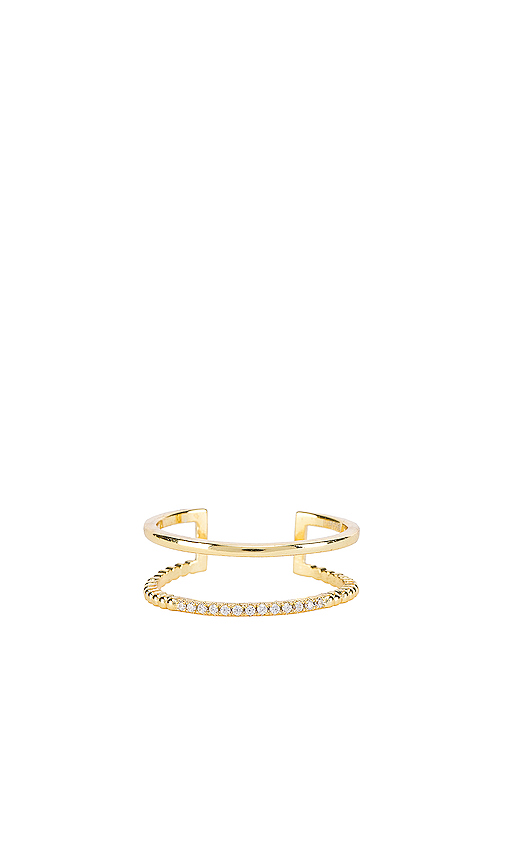 SHASHI Jade Pave Ring in Metallic Gold.