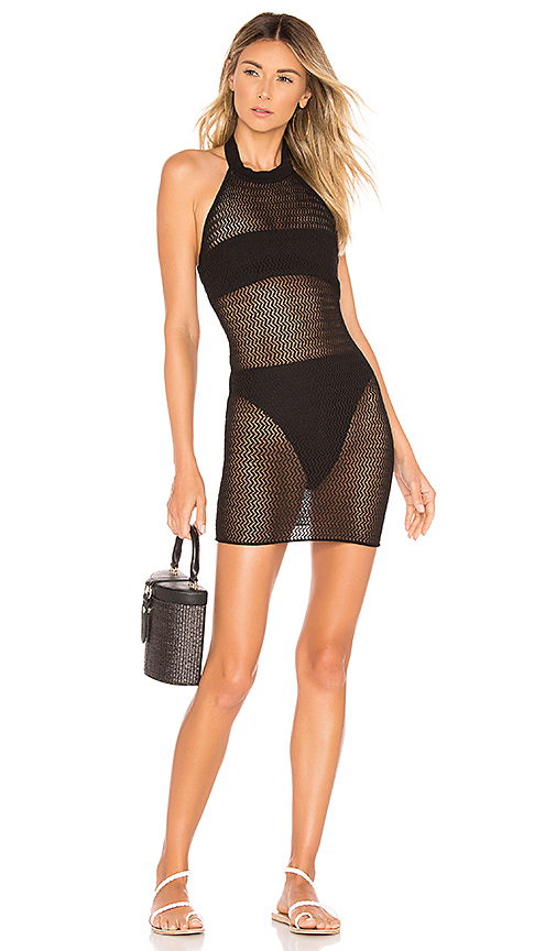 superdown Racheal Net Halter Dress in Black. - size S (also in XS,M,L)