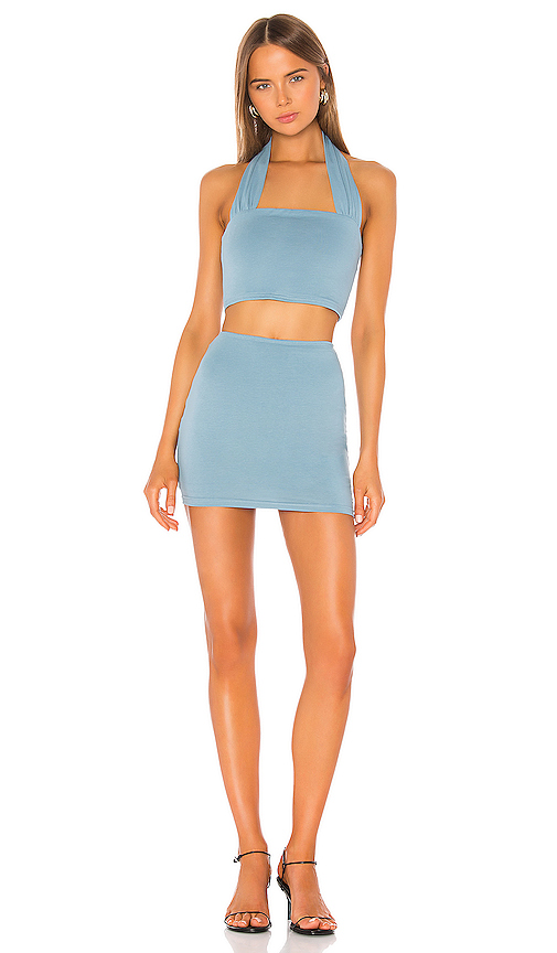 superdown Madelyn Halter Skirt Set in Blue. - size L (also in XXS,XS,S,M,XL)