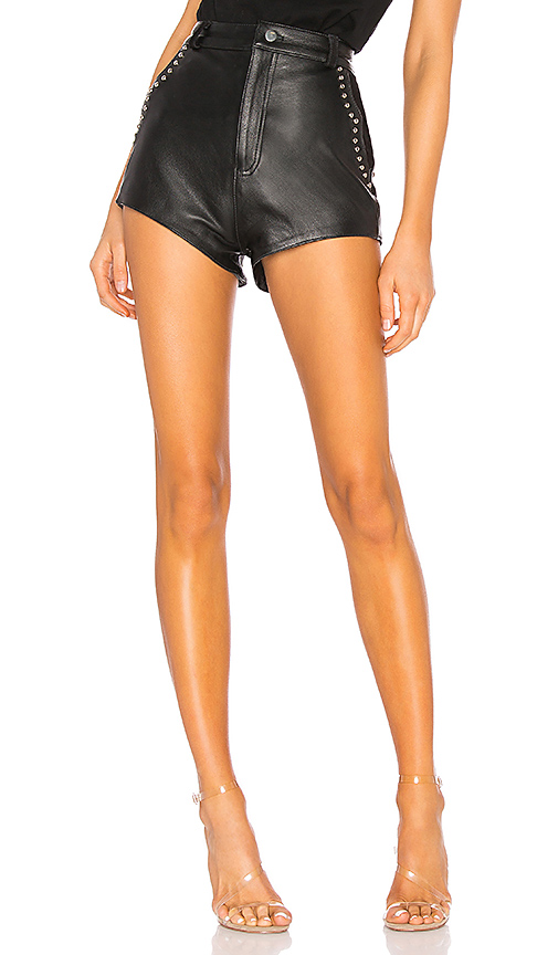Understated Leather Studded Combo Shorts in Black. - size L (also in M,S,XS)