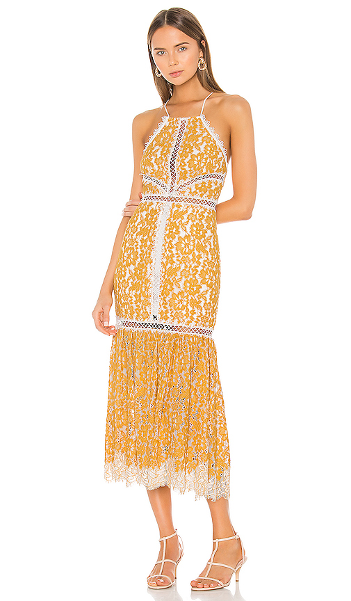 X by NBD Felicity Embroidered Dress in Yellow. - size S (also in XXS,XS,M,L,XL)
