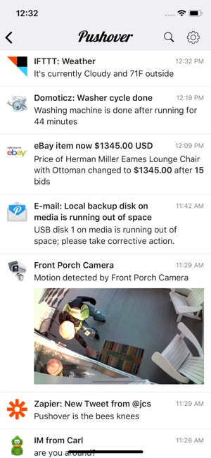 Pushover Notifications Screenshot