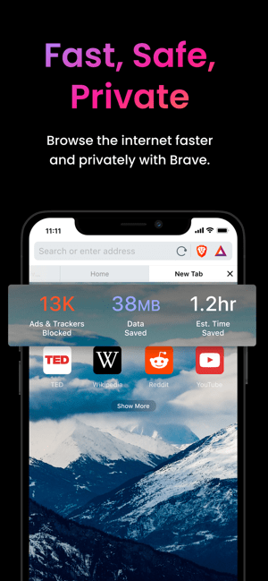Brave Browser Private Internet Screenshot